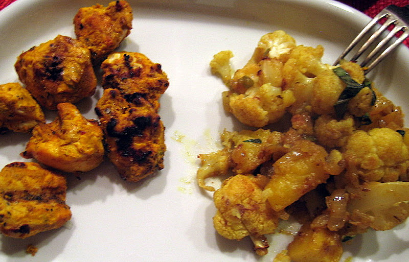 The vegetables served with tandoori-style chicken