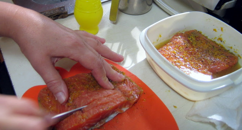 When youre ready to serve the orange cured salmon, scrape off the rub and slice it into thin pieces.
