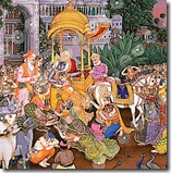 Krishna leaving Vrindavana