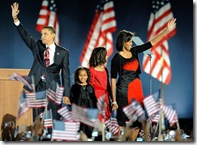 Obama and family on election night