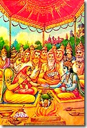 Brahmanas performing marriage ceremony of Sita and Rama