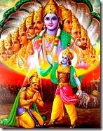 Lord Krishna teaching Arjuna