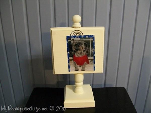 white photo display stand MyRepurposedLife.com