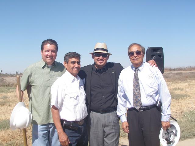 Rey Leon with City COuncilmembers Leo Cappucino and Mayor Robert Silva