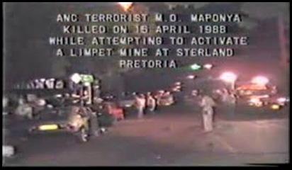 PretoriaSterlandBomb16April1988KilledANCterrorirst MO Maponya