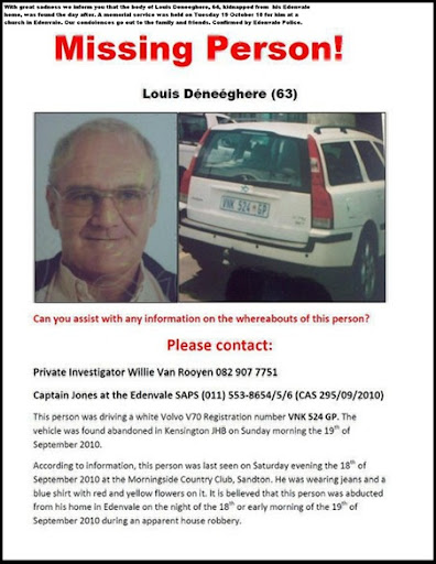 Deneeghere Louis SAPS missing poster Sept 2010 WAS FOUND MURDERED
