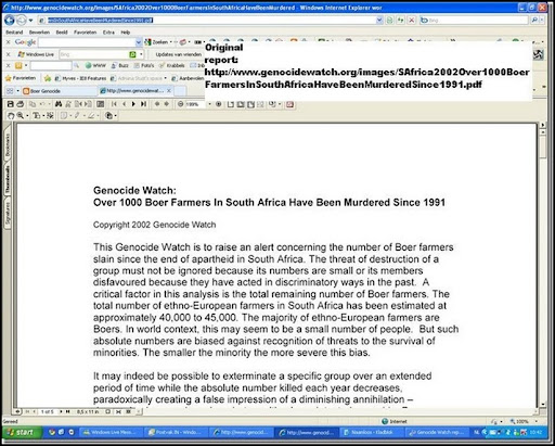 Genocide Watch 2002 Alert over Boer Farmers Slain since apartheid in South Africa Nr 1 jpeg