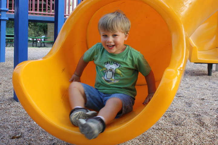 The Tackler loves going down the tube slide.