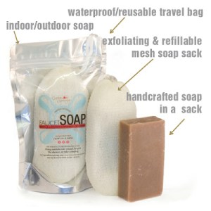 Good Fortune hand made all-natural soap in exfoliating sack