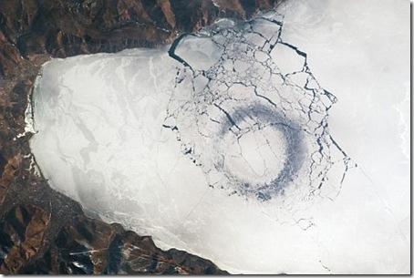 view of ice circle in Russia's Lake Baikal from ISS