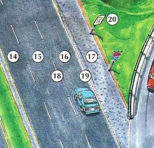 14. left lane 15. middle lane/ center lane 16. right lane 17. shoulder 18. broken line 19. solid line 20. speed limit sign