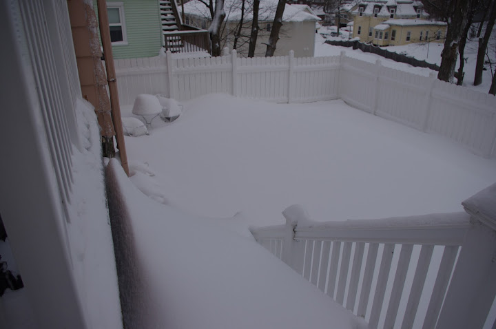 Where we do put the snow. Those are stairs, if you can't tell.