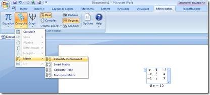 Inserire simboli matematici, calcoli, espressioni e charts in Word con Microsoft Mathematics Add (2/5)