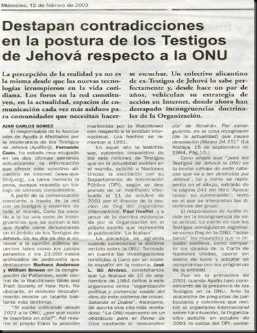 ONU - 2003 02 12- Newspaper - Pais Spain