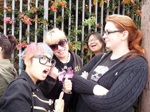 More of our costume-pillaging crew! Sheyne, Jocelyn, and Rebecca, with a very excited Chubby Bunny