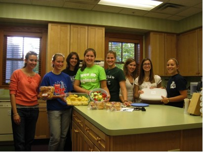 MSU SWE Members making dinner at the Ronald McDonald House in Lansing, MI