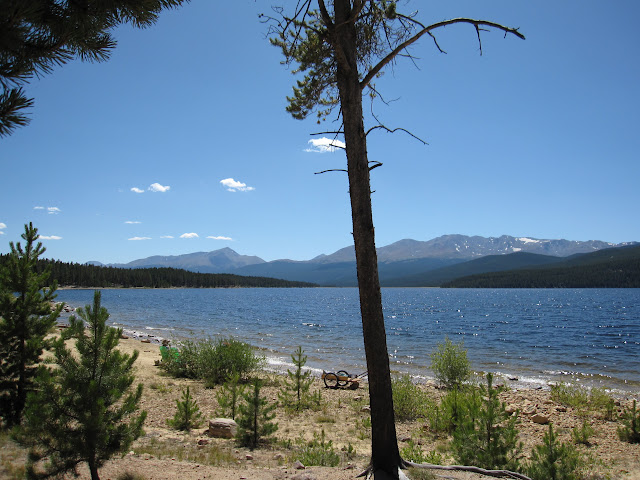 Near campsite at Turquoise Lake. Mt. Massive and Mt. Elbert in background
