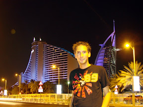 Me in front of Jumeirah Beach Hotel and Burj al Arab