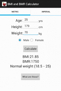 BMI and BMR calculator screenshot 3
