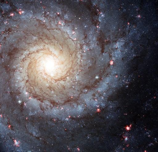 Uma galáxia espiral com vários pontos rosa de formação de estrelas por ondas de choque