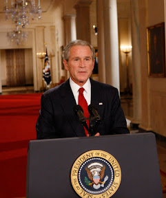 President George W. Bush addresses the nation from the East Room of the White House, Wednesday evening, Sept. 24, 2008, on the nations financial crisis. President Bush has invited legislative leaders from the House and Senate, including both Presidential candidates, to a meeting Thursday at the White House to discuss a bipartisan plan to rescue the economy. White House photo by Eric Draper
