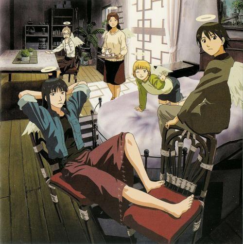 The other Haibane at Old Home: (clockwise, from left to right) Reki, Hikari, Kana, Kuu and Nemu.