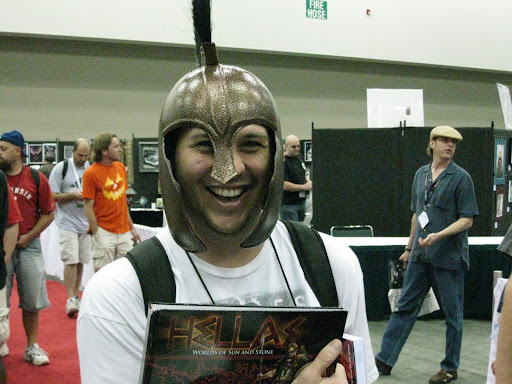 Josh in Hoplite helmet