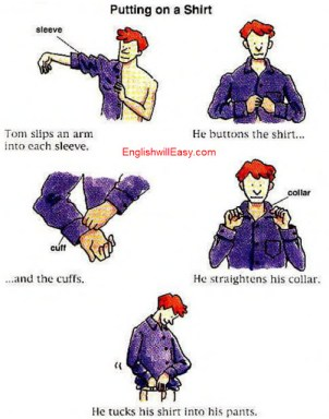 Getting dressed - Man - English Picture Dictionary for Everyday Activities.
