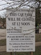 Ashbourne Shrovetide Notice on the Shaw Croft Car Park