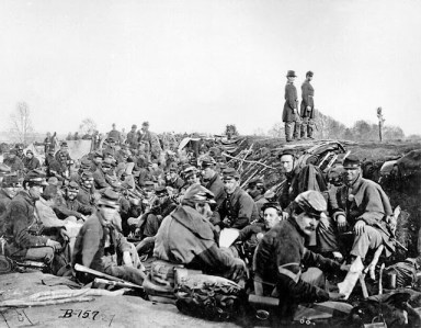 Union soldiers in trenches before storming Marye's Heights at the Second Battle of Fredericksburg, Virginia, May 1863.
