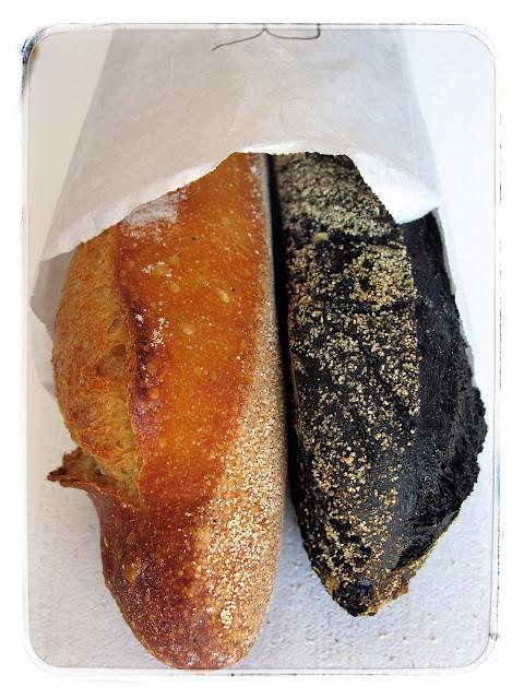 Gontron Cherrier, squid ink baguette, normal baguette. Paris pic:kerstin rodgers