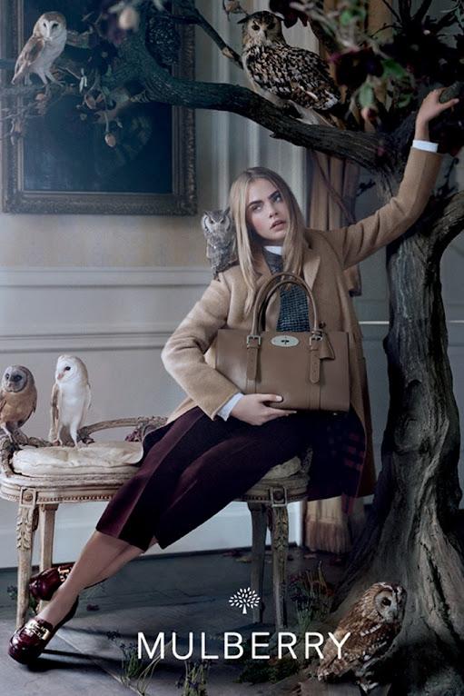 *名模Cara Delevingne手托貓頭鷹:首度拍攝Mulberry秋季形象照! 2