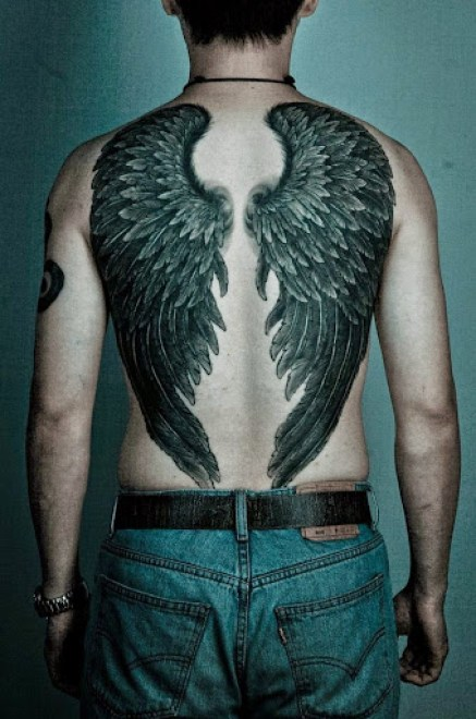 Angel wings tattoos for men