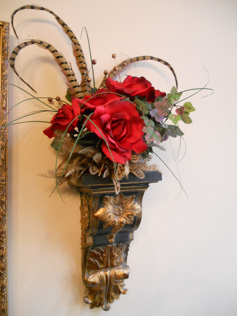 Burkett Blessings: Decorating with Floral Arrangements on Wall Sconce Floral Arrangements Arrangement id=23516