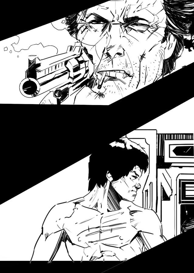 Dos fragmentos de la portada que está haciendo David Monge para Tipos Duros.