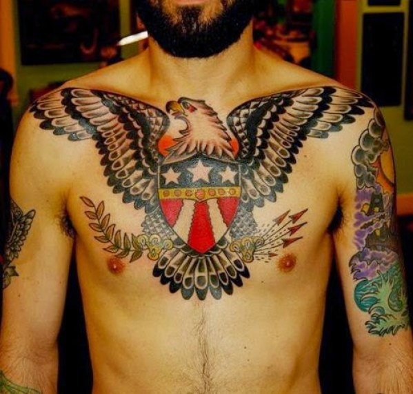us eagle mens chest tattoo ideas