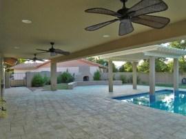 Sun Lakes custom patio with single span crane laid I-beam construction
