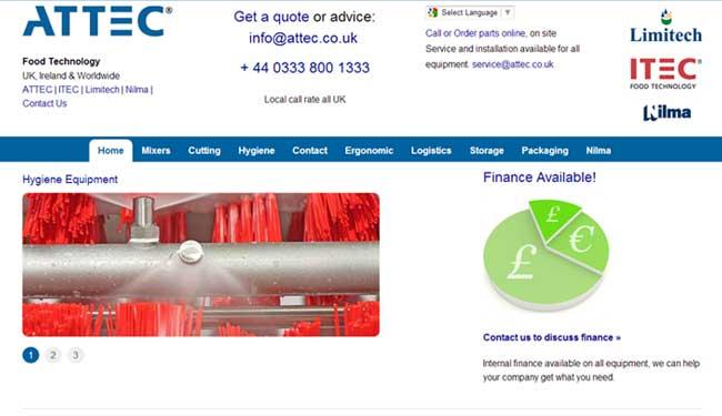 Attec web design screen shot