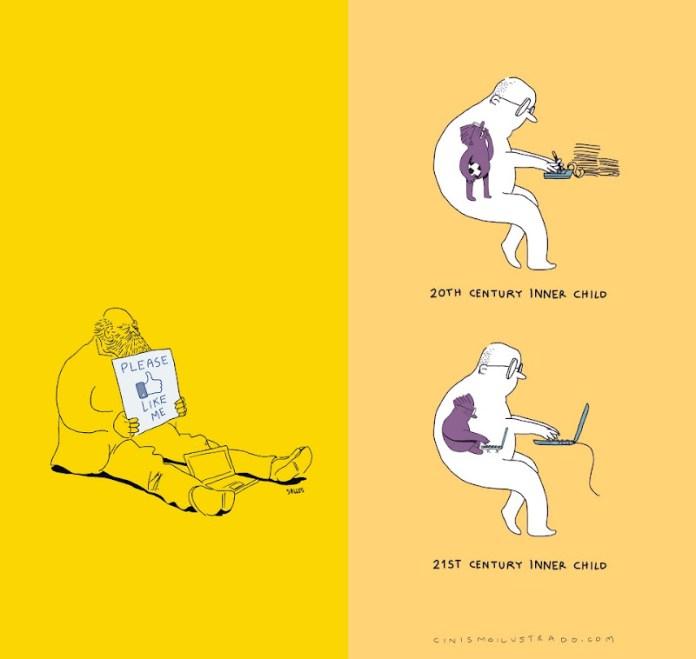 dois exemplos de ilustrações do artista mexicano Eduardo Salles