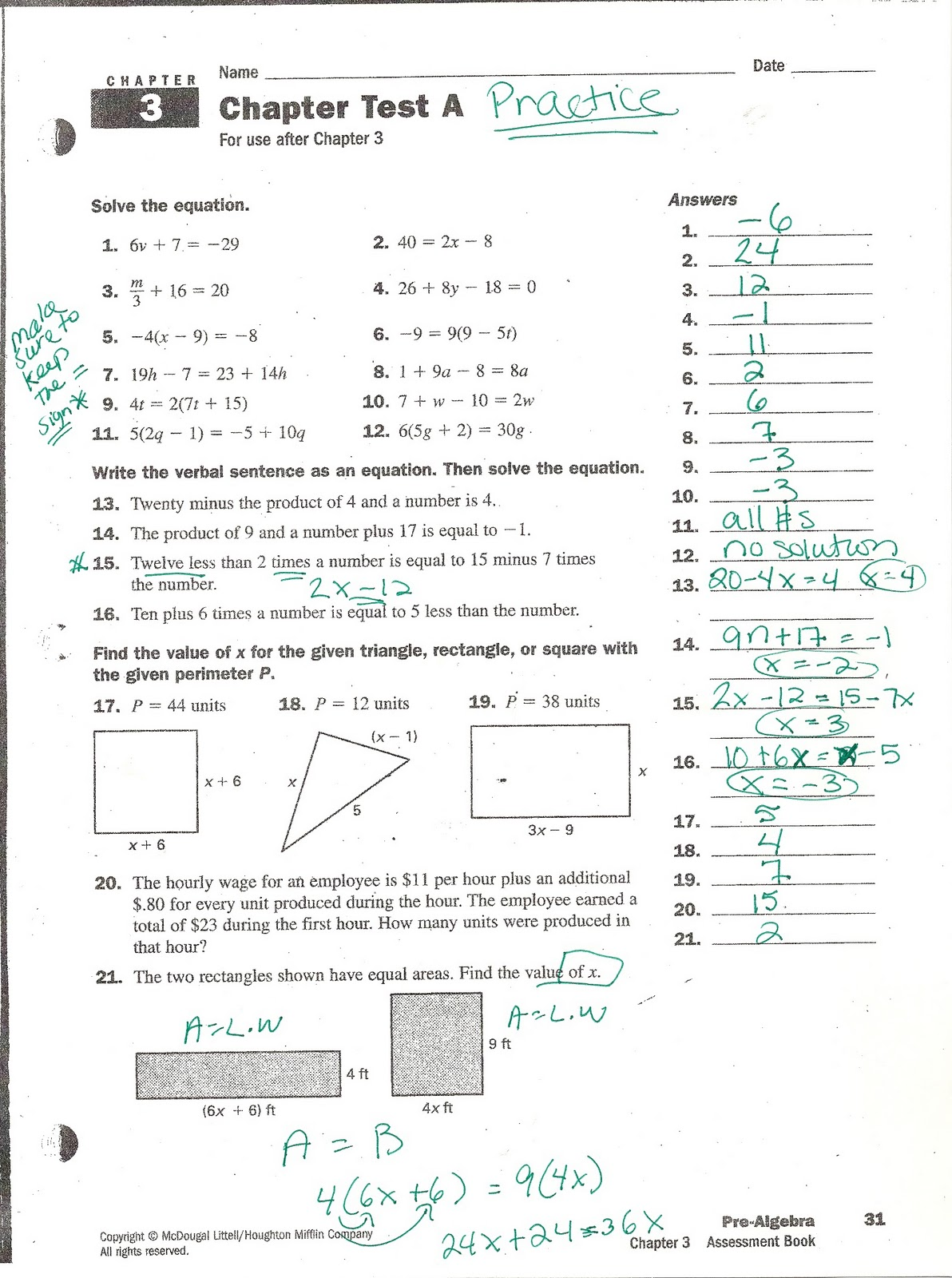 Holt Mcdougal Algebra 1 Chapter 2 Test Answers