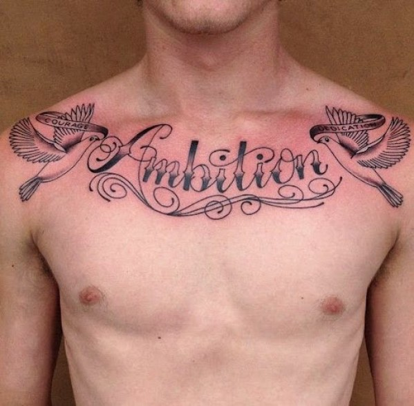 flying birds tattoos  on Chest