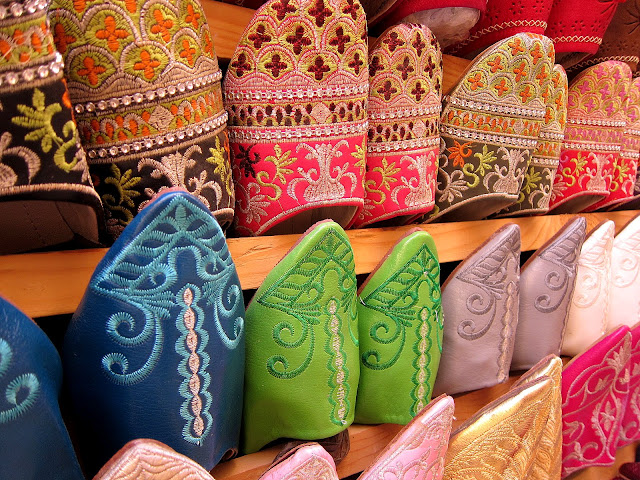 Leather shoes at the souk in Fes, Morocco