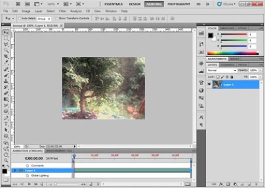 Arquivo de vídeo aberto no Photoshop