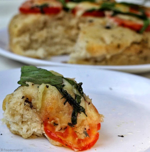 Focaccia Caprese Recipe | How to make easy Italian bread from scratch | Make eggless focaccia bread with easy to follow step by step pictures | Written by Kavitha Ramaswamy from Foodomania.com