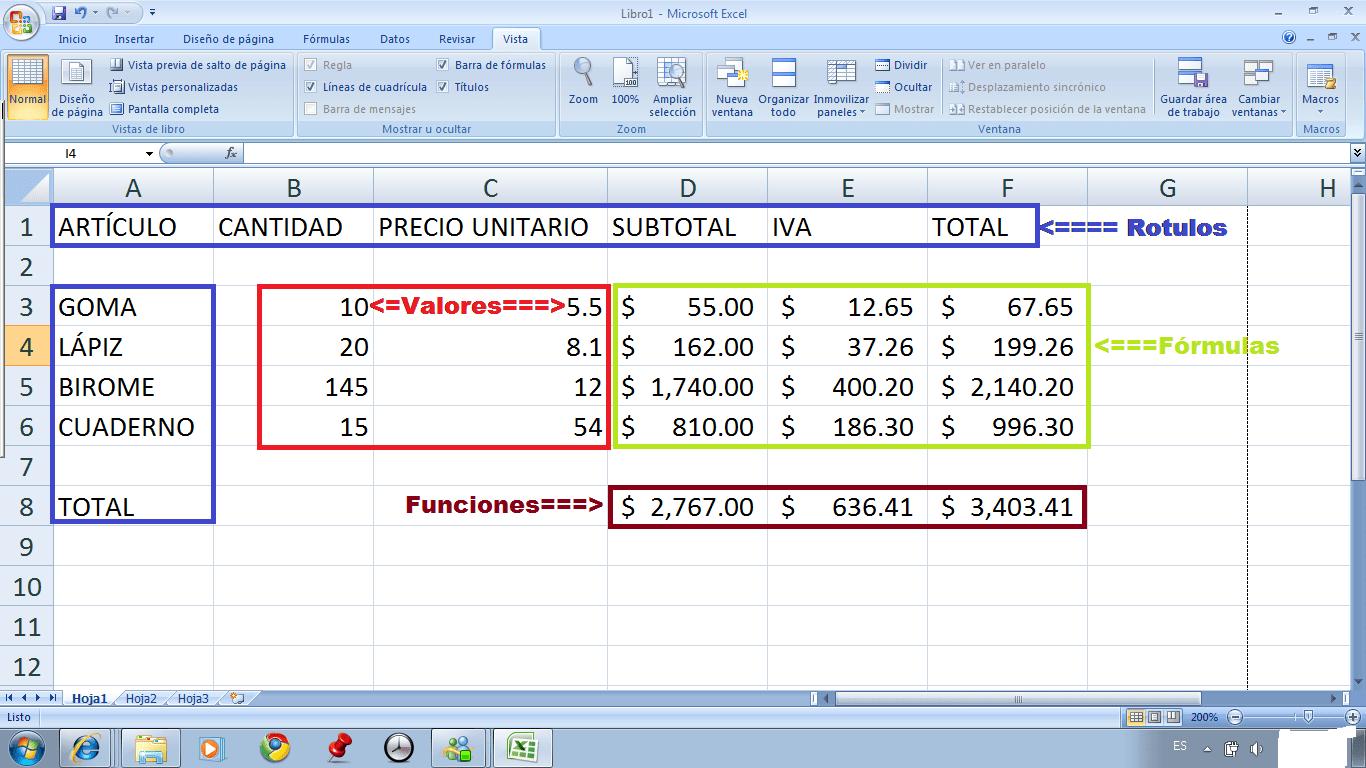 Excel Tipos De Datos