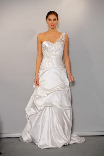 One Shoulder Ruched Wedding Gown