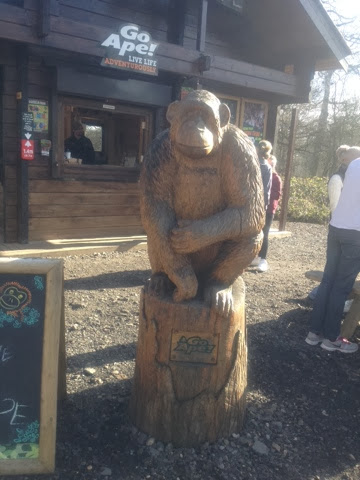 A wood-carved monkey at Go Ape!