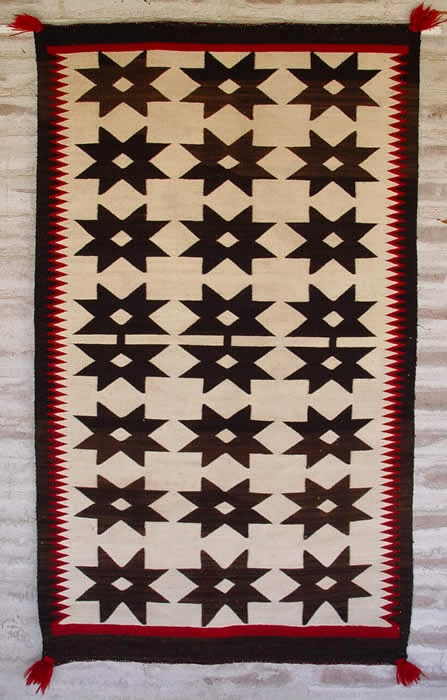 Historic Native American Textile : ght 1890 : Crystal-Valero Star Optical Saddle Blanket