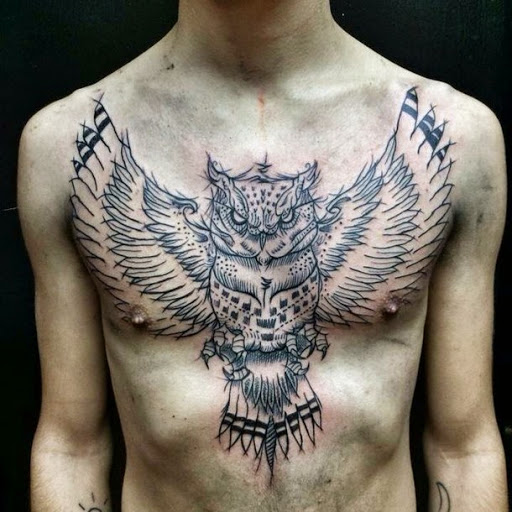 Owl tattoos on chest for men