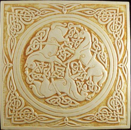 relief carved celtic horse ceramic tile